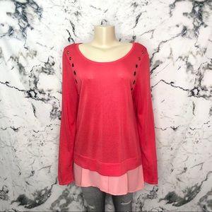 Worthington Long Sleeve Layered Tunic Pink